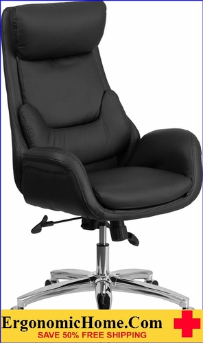 Ergonomic Home High Back Black Leather Executive Swivel Office Chair with Lumbar Pillow <b><font color=green>50% Off Read More Below...</font></b></font></b>