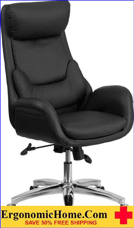 Ergonomic Home High Back Black Leather Executive Swivel Office Chair with Lumbar Pillow <b><font color=green>50% Off Read More Below...</font></b>