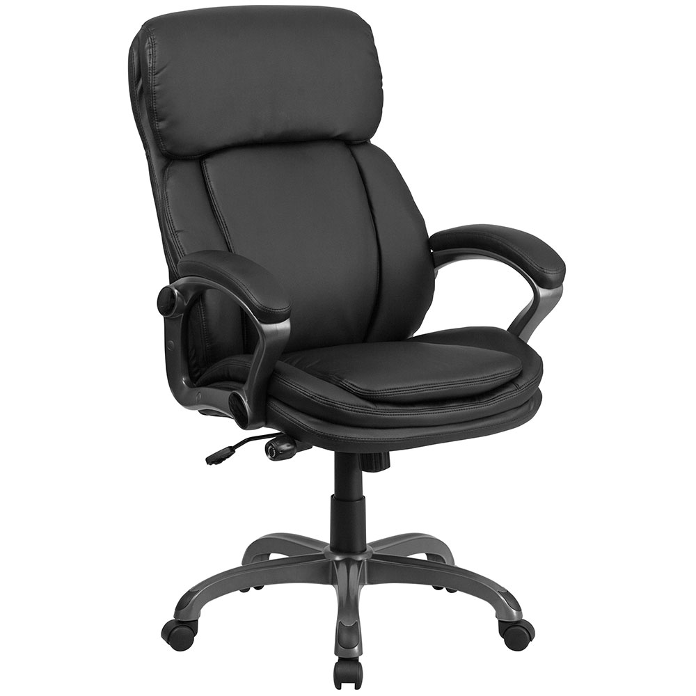 Ergonomic home high back black leather executive swivel for Swivel chairs for office