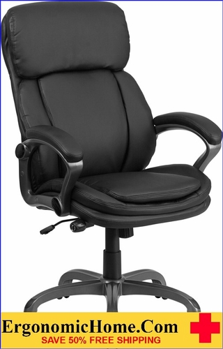 Ergonomic Home High Back Black Leather Executive Swivel Office Chair with Lumbar Support Knob u003cb & Ergonomic Home High Back Black Leather Executive Swivel Office Chair ...
