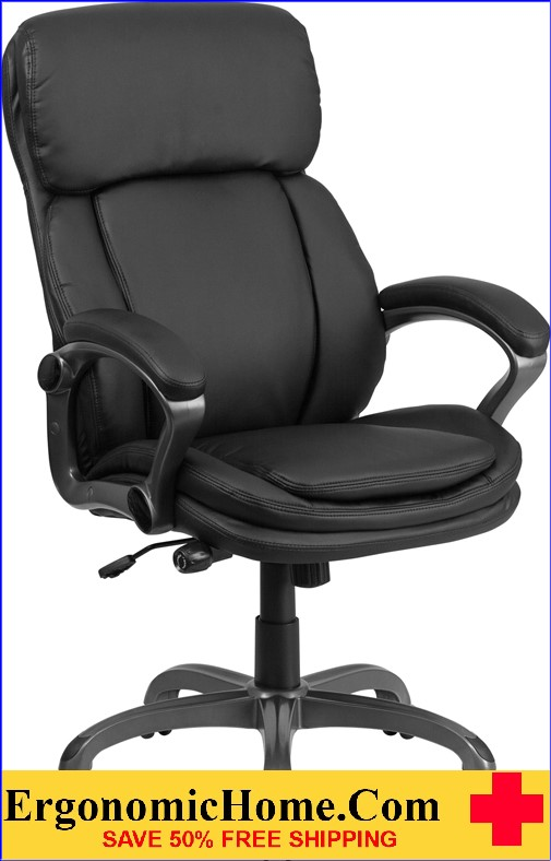 Ergonomic Home High Back Black Leather Executive Swivel Office Chair with Lumbar Support Knob <b><font color=green>50% Off Read More Below...</font></b>