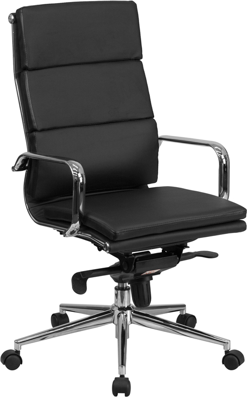 High Back Black Leather Executive Swivel Office Chair with Synchro-Tilt Mechanism