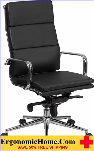 Ergonomic Home High Back Black Leather Executive Swivel Office Chair with Synchro-Tilt Mechanism .