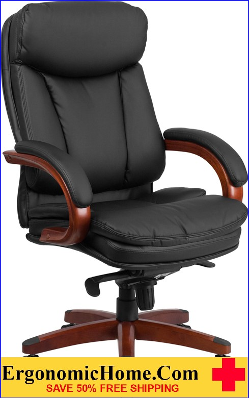 Ergonomic Home High Back Black Leather Executive Swivel Office Chair with Synchro-Tilt Mechanism and Mahogany Wood Base <b><font color=green>50% Off Read More Below...</font></b>