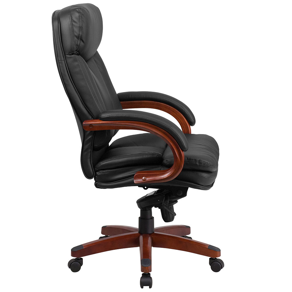 Ergonomic Home High Back Black Leather Executive Swivel Office Chair With Synchro Tilt Mechanism And Gany Wood Base 50 Off Below