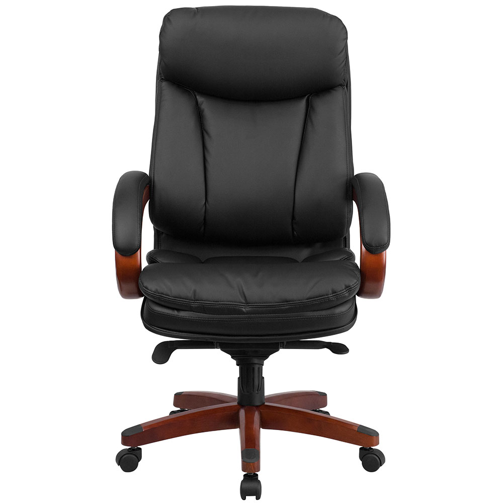 high back black leather executive swivel office chair with synchro