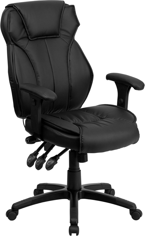 High Back Black Leather Executive Swivel Office Chair with Triple Paddle Control and Lumbar Support Knob
