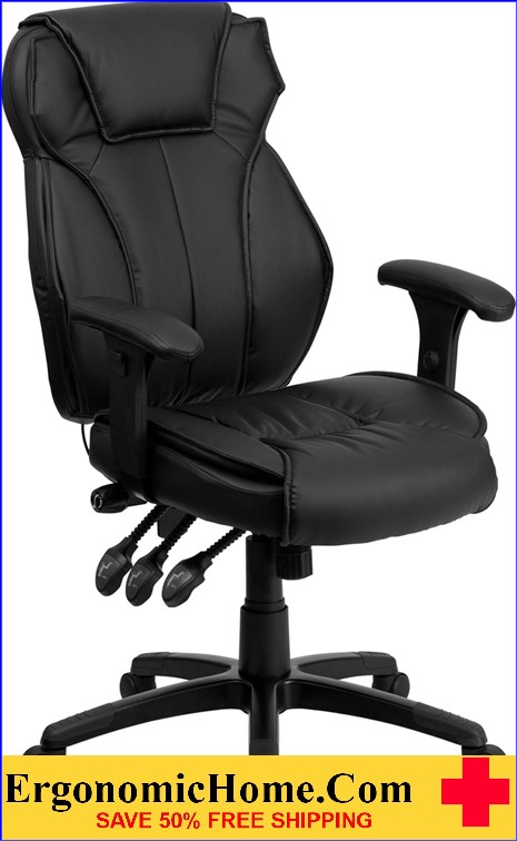 Ergonomic Home High Back Black Leather Executive Swivel Office Chair with Triple Paddle Control and Lumbar Support Knob <b><font color=green>50% Off Read More Below...</font></b>