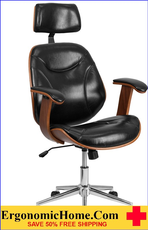 Admirable Ergonomic Home High Back Black Leather Executive Wood Swivel Office Chair 50 Off Read More Below Home Remodeling Inspirations Cosmcuboardxyz