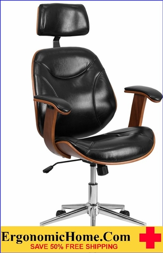 Ergonomic Home High Back Black Leather Executive Wood Swivel Office Chair <b><font color=green>50% Off Read More Below...</font></b>