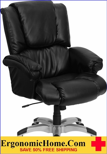 Ergonomic Home High Back Black Leather OverStuffed Executive Swivel Office Chair <b><font color=green>50% Off Read More Below...</font></b>