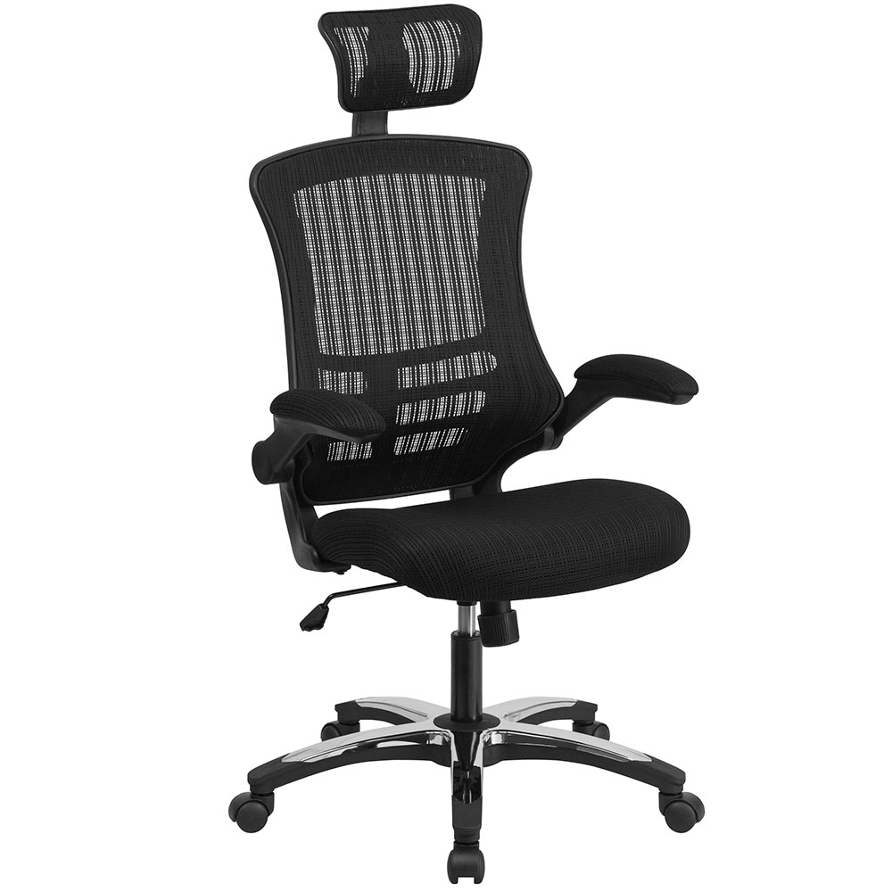 High Back Black Mesh Executive Swivel Office Chair With Flip Up Arms And  Chrome