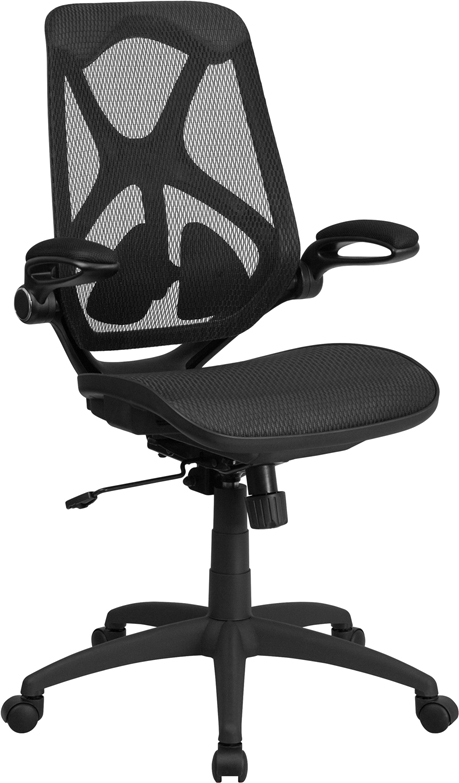 High Back Black Mesh Executive Swivel Office Chair with Mesh Seat, Adjustable Lumbar, 2-Paddle Control and Flip-Up Arms