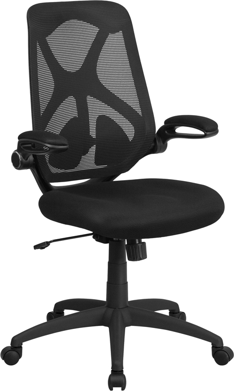 High Back Black Mesh Executive Swivel Office Chair with Padded Seat, Adjustable Lumbar, 2-Paddle Control and Flip-Up Arms