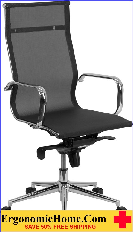 Ergonomic Home High Back Black Mesh Executive Swivel Office Chair with Synchro-Tilt Mechanism .