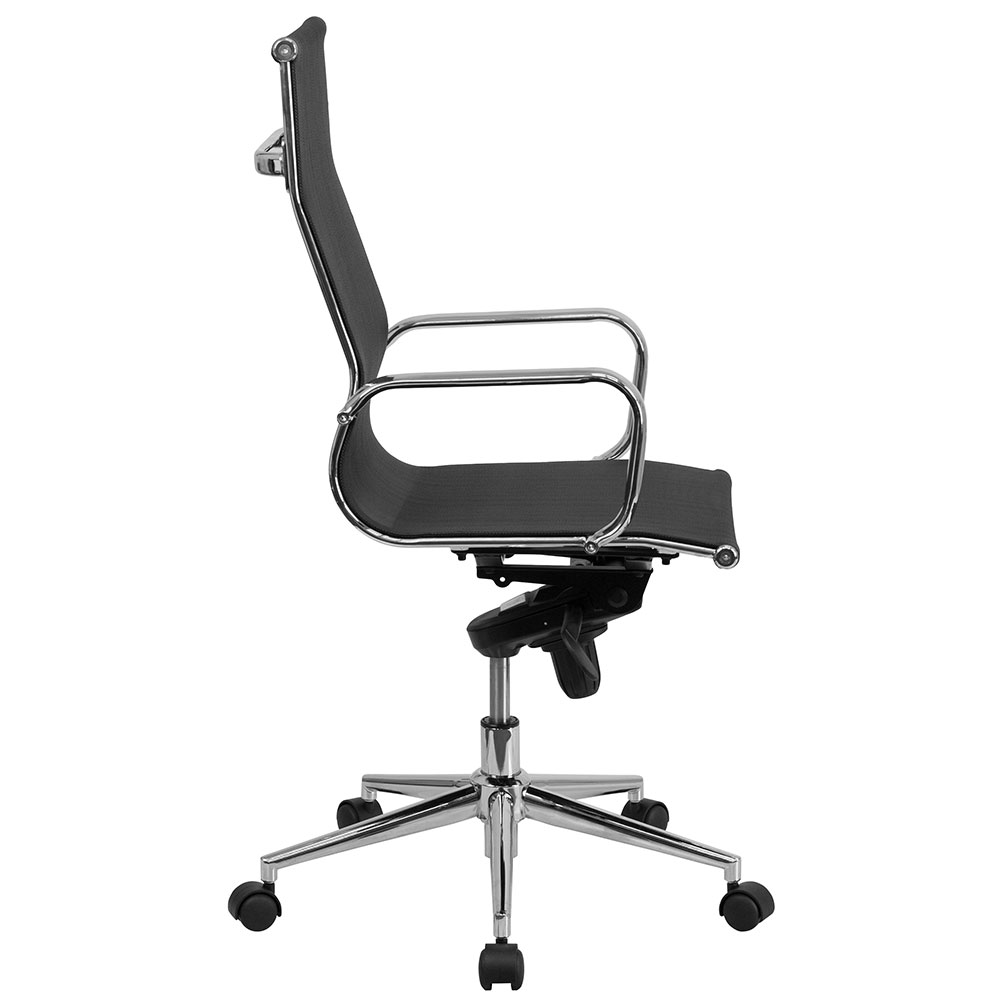 High office chair - High Back Black Mesh Executive Swivel Office Chair With Synchro Tilt Mechanism