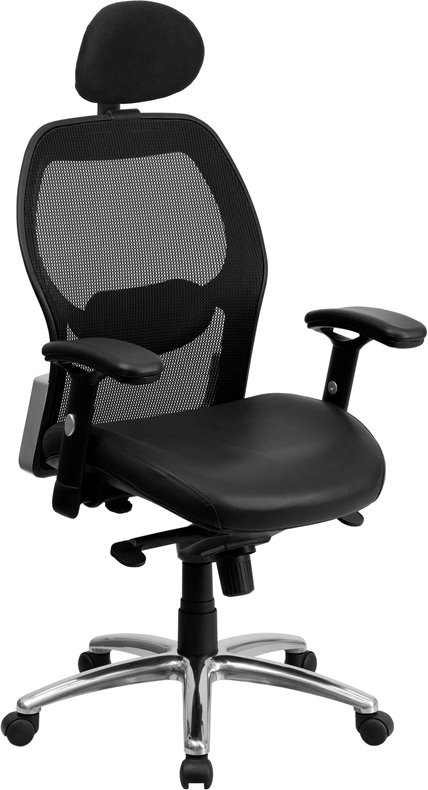 High Back Black Super Mesh Executive Swivel Office Chair with Leather Padded Seat and Knee Tilt Control
