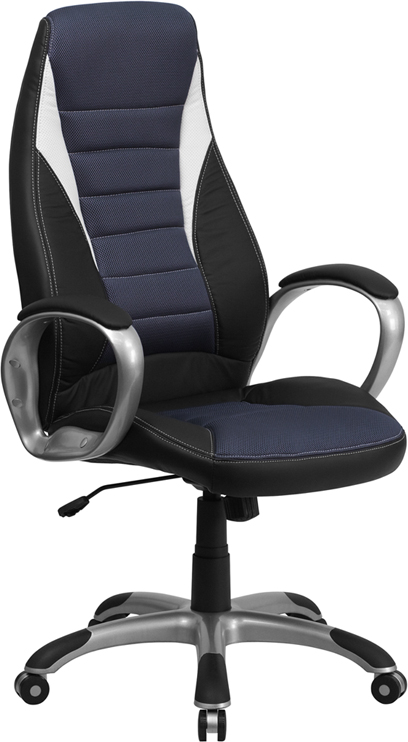 High Back Black Vinyl Executive Swivel Office Chair with Blue Mesh Inserts