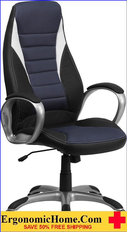 Ergonomic Home High Back Black Vinyl Executive Swivel Office Chair with Blue Mesh Inserts <b><font color=green>50% Off Read More Below...</font></b>