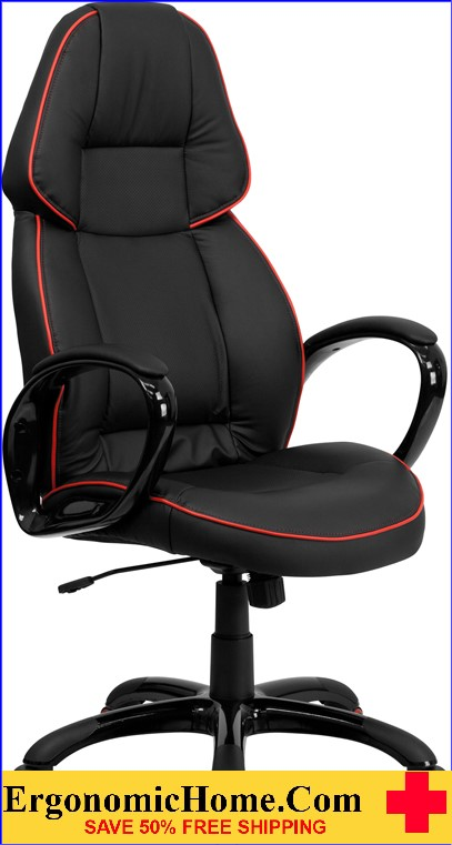 Ergonomic Home High Back Black Vinyl Executive Swivel Office Chair with Red Piping Border .