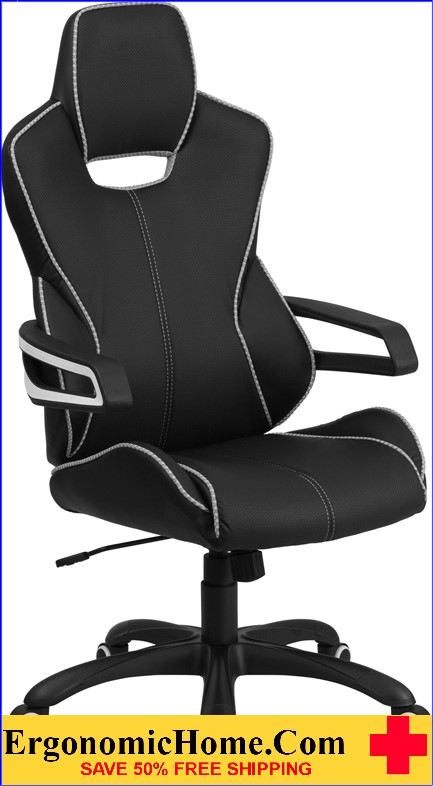 Ergonomic Home High Back Black Vinyl Executive Swivel Office Chair with White Trim .
