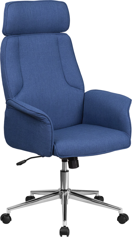 High Back Blue Fabric Executive Swivel Office Chair with Chrome Base