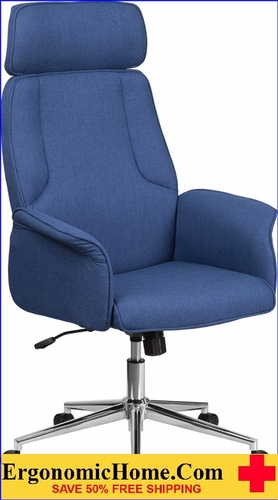 Ergonomic Home High Back Blue Fabric Executive Swivel Office Chair with Chrome Base <b><font color=green>50% Off Read More Below...</font></b></font></b>