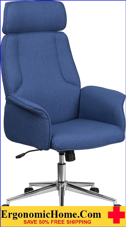 High Back Desk Chair| Blue Upholstered Swivel Chair for Desk and Office