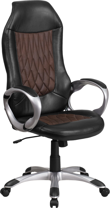 High Back Brown Fabric and Black Vinyl Executive Swivel Office Chair