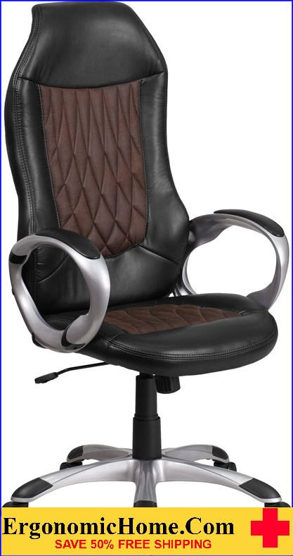 Ergonomic Home High Back Brown Fabric and Black Vinyl Executive Swivel Office Chair <b><font color=green>50% Off Read More Below...</font></b>
