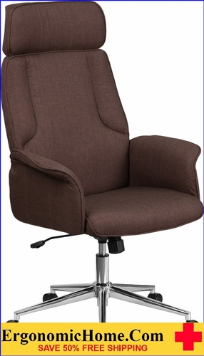 Ergonomic Home High Back Brown Fabric Executive Swivel Office Chair with Chrome Base <b><font color=green>50% Off Read More Below...</font></b></font></b>