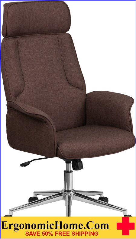 High Back Brown Fabric Executive Swivel Office Chair with Chrome Base and Fully Upholstered Arms