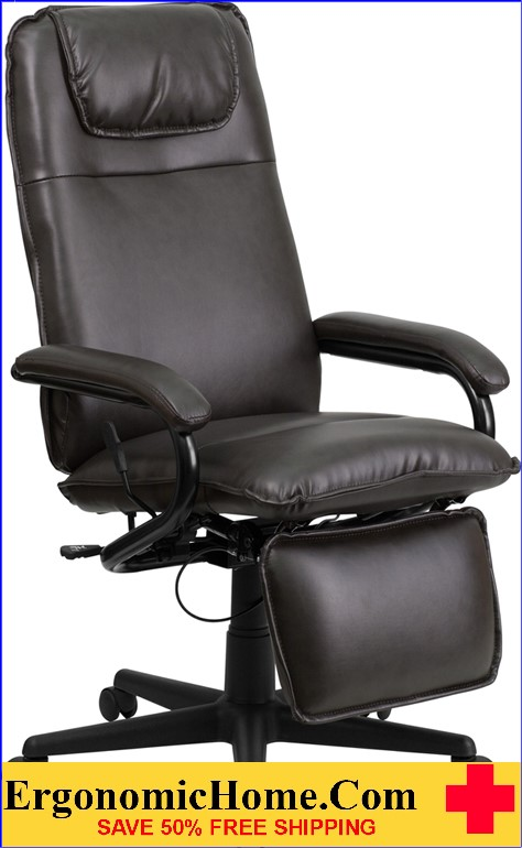 High Back Brown LeatherSoft Executive Reclining Ergonomic Swivel Office Chair with Arms