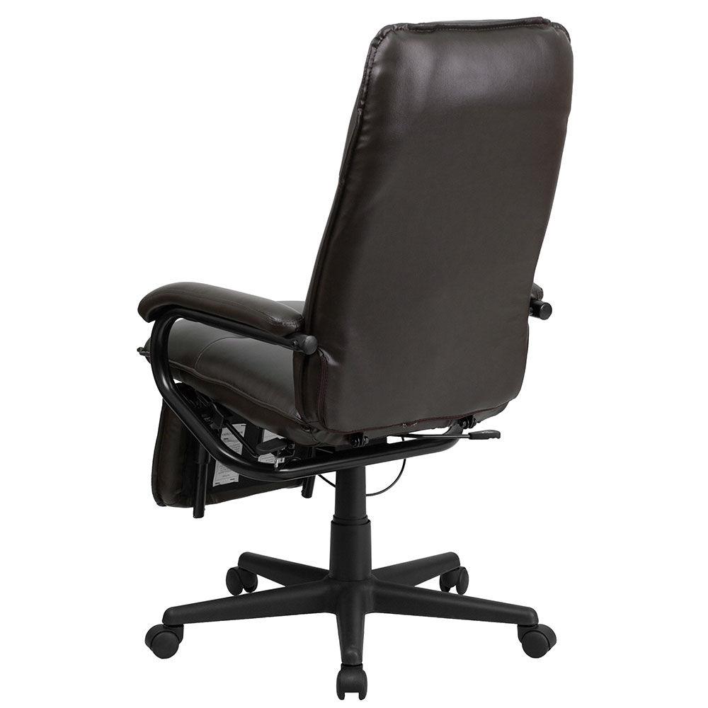 Ergonomic Home High Back Brown Leather Executive Reclining Swivel Office Chair