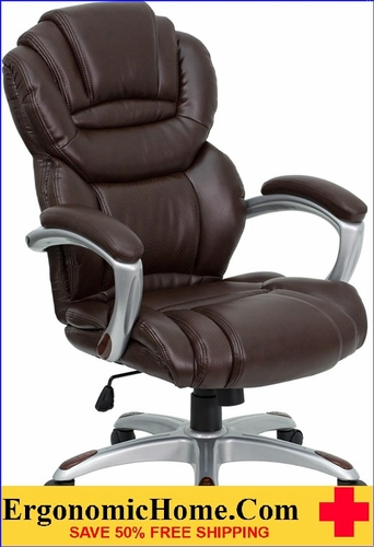 Ergonomic Home High Back Brown Leather Executive Swivel Office Chair with Leather Padded Loop Arms <b><font color=green>50% Off Read More Below...</font></b></font></b>
