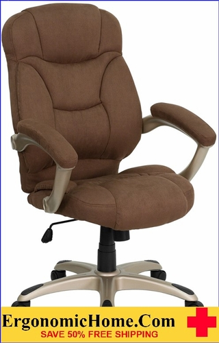 Ergonomic Home High Back Brown Microfiber Contemporary Executive Swivel Office Chair <b><font color=green>50% Off Read More Below...</font></b></font></b>