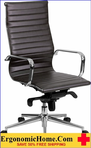 Ergonomic Home High Back Brown Ribbed Upholstered Leather Executive Swivel Office Chair <b><font color=green>50% Off Read More Below...</font></b></font></b>
