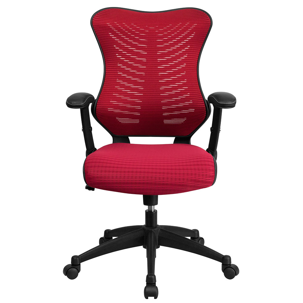high back burgundy designer mesh executive swivel office chair with