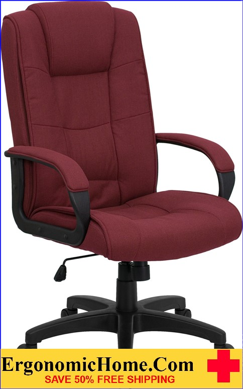 Ergonomic Home High Back Burgundy Fabric Executive Swivel Office Chair <b><font color=green>50% Off Read More Below...</font></b>
