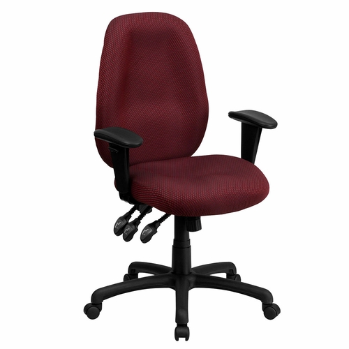 Ergonomic Home High Back Burgundy Fabric Multi-Functional Ergonomic Executive Swivel Office Chair with Height Adjustable Arms EH-BT-6191H-BY-GG .