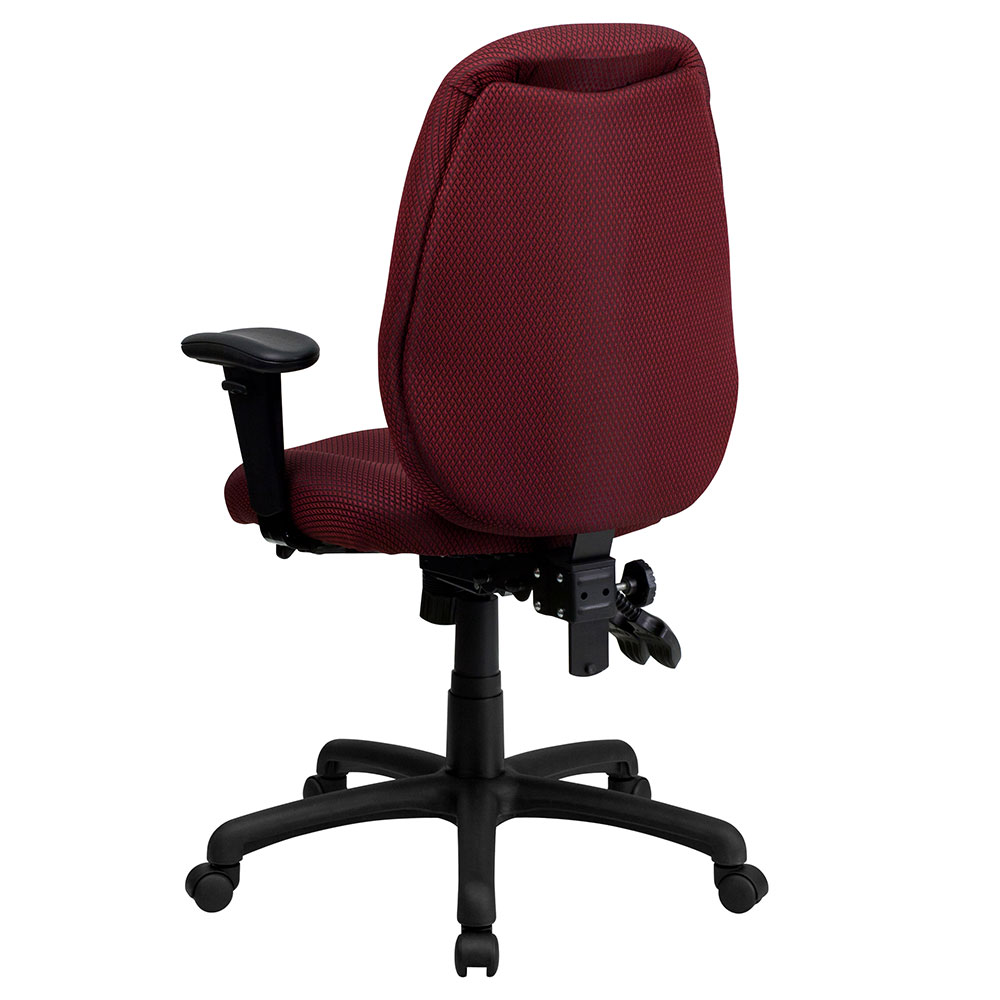 high back burgundy fabric multi functional ergonomic