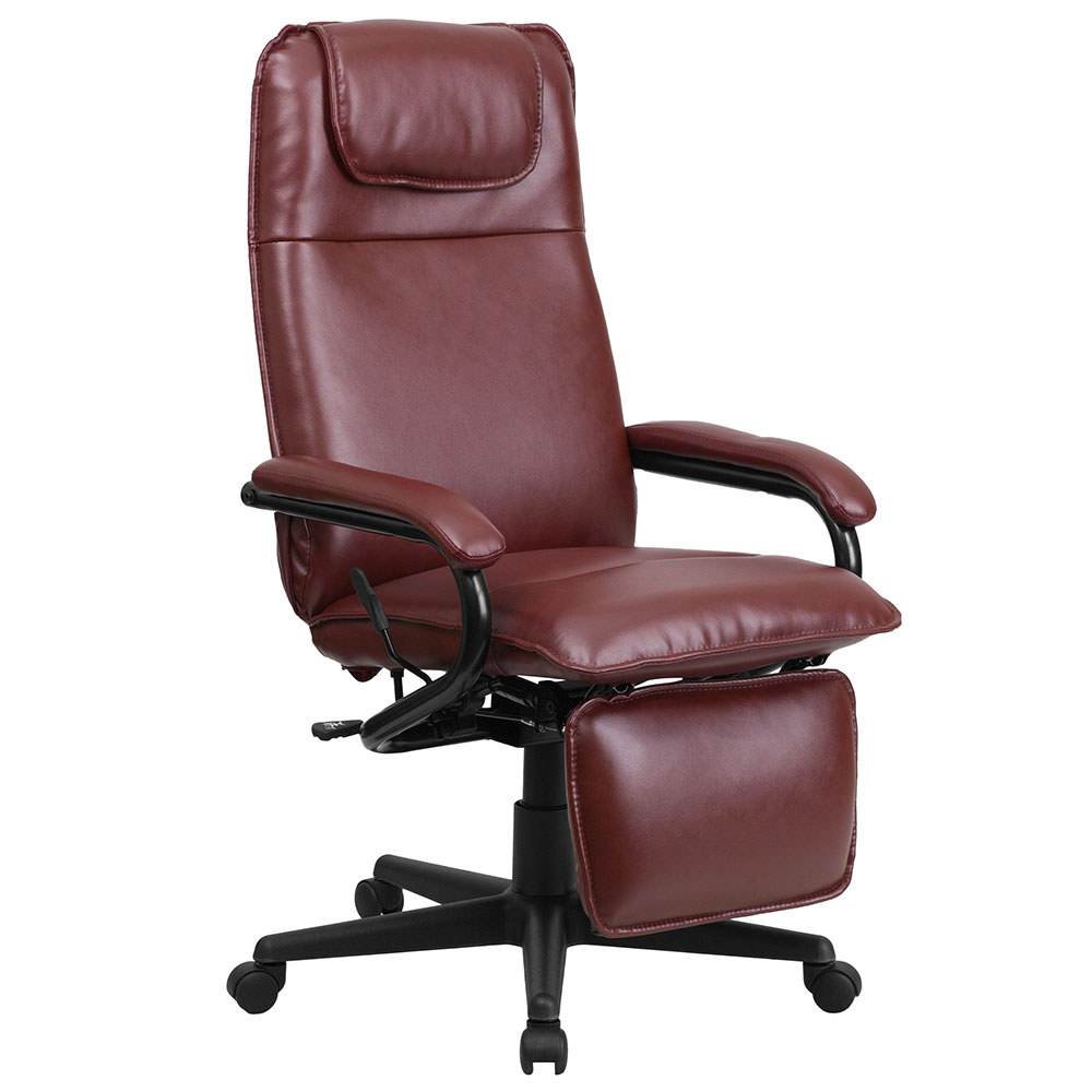 Ergonomic Home High Back Burgundy Leather Executive