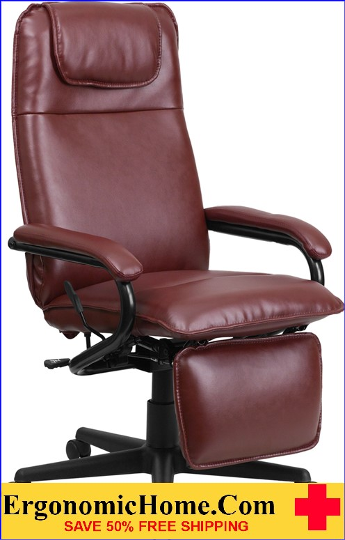 Ergonomic Home High Back Burgundy Leather Executive Reclining Swivel Office Chair <b><font color=green>50% Off Read More Below...</font></b>