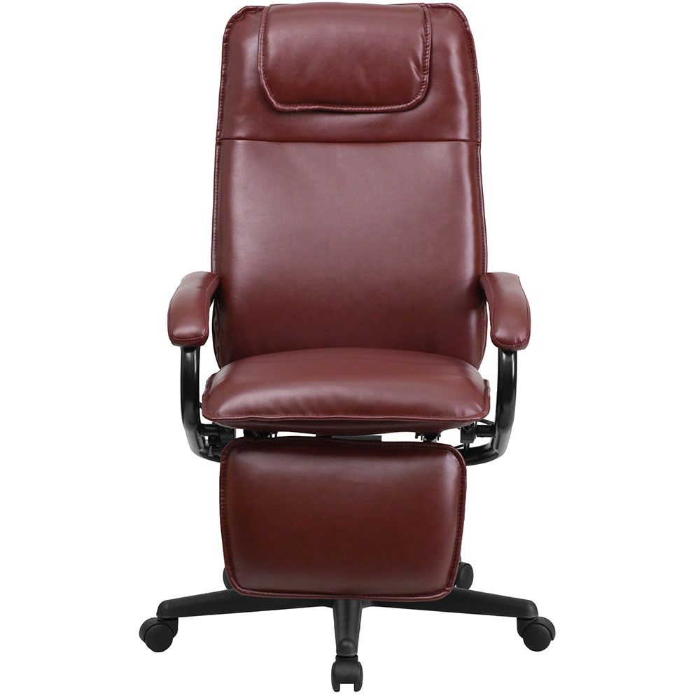 ergonomic home high back burgundy leather executive reclining swivel office chair. Black Bedroom Furniture Sets. Home Design Ideas