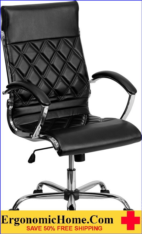 Ergonomic Home High Back Designer Black Leather Executive Swivel Office Chair with Chrome Base <b><font color=green>50% Off Read More Below...</font></b>