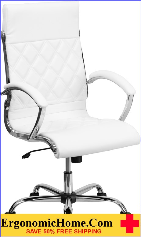 Ergonomic Home High Back Designer White Leather Executive Swivel Office Chair with Chrome Base <b><font color=green>50% Off Read More Below...</font></b>