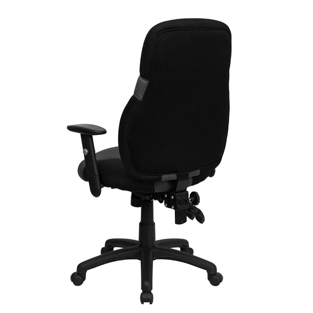 Office Chair With Adjustable Arms High Back Ergonomic Black And Gray Mesh Swivel Task Chair With