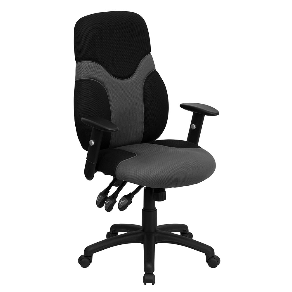 </b></font>ERGONOMIC HOME High Back Ergonomic Black and Gray Mesh Swivel Task Chair with Height Adjustable Arms EH-BT-6001-GYBK-GG <b></font>. </b></font></b>