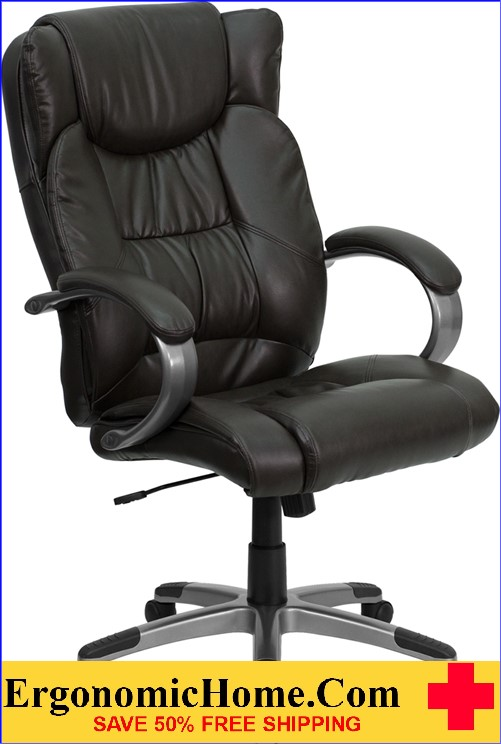 Ergonomic Home High Back Espresso Brown Leather Executive Swivel Office  Chair U003cbu003eu003cfont
