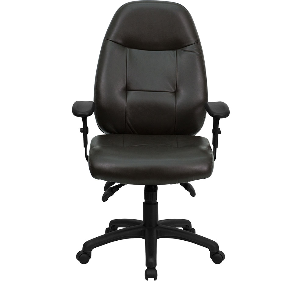 High back espresso brown leather executive swivel office chair for Swivel chairs for office